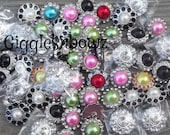 Sale Rhinestone Buttons- GiGGLeSNBoWZ GRaB BaG of Buttons- SECOND QUaLiTY DeSTaSH 20 pieces- Pearl Rhinestone- Diy Supplies