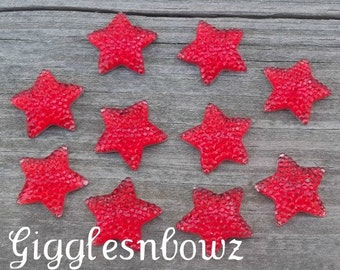 NEW to SHoP- ReSIN GLiTTER STARS 16mm 4th of July RED 10 piece set