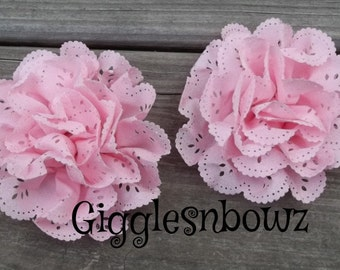 NEW to SHop- Set of 2 LiGHT PiNK Chiffon EYELET Flowers- 3-3.5 inch