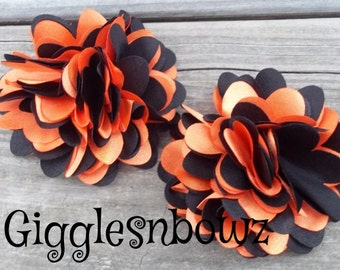 HaLLoWEEN CoLLeCTiON-Set of 2 Small Satin Puff Flowers- Orange and Black