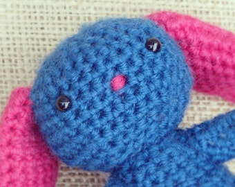 Blue Amigurumi Crochet Bunny