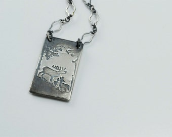 As the Deer Necklace in Sterling Silver
