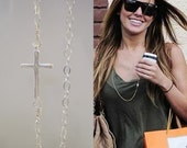 Sideways Cross Necklace, Long Layering Necklace, Silver Necklace, Celebrity Inspired Jewelry, Layering Jewelry