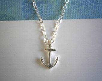 Anchor Necklace, Silver Anchor, Pendant Necklace, Silver Necklace, Best Friend Birthday