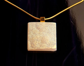 Handmade Dichroic and Gold Pendant Necklace ...drusy druzy...