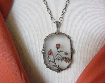 On Sale!  Circa 1930 Camphor Glass Pendant Necklace with Marcasite and Coral Flowers