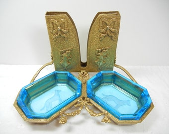 Czech glass open salt pair in ornate brass holder / intaglio glass features Dogs / RARE / retrievers / hunting / victorian / gift unique