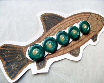 Antique Green Buttons on Fish Card Crafting, Sewing, Fashion Design, Jewelry Design