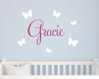 Nursery Name Decal - Butterfly Wall Decal - Children Wall Decal - Butterfly Name Decal - Butterfly Nursery Decor