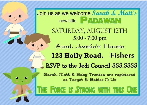 to digital star wars baby shower invitation printable diy on etsy