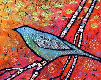 "Whimsical Art, Colorful Bird - Archival Print - 8"" x 8"" - Safe Landing"