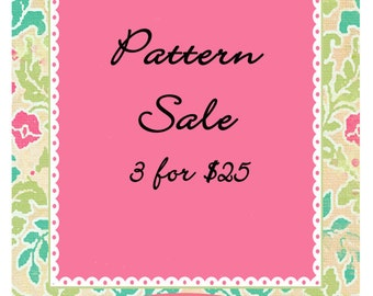 SALE ANY 3 PDF Patterns for 25