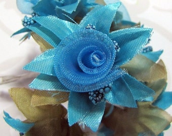 Organza and Fabric Star Flower Embellishments in Turquoise