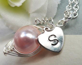 Personalized Single Sweet Pea In A Pod Necklace Monogrammed Initial Of Your Choice Choose Your Color