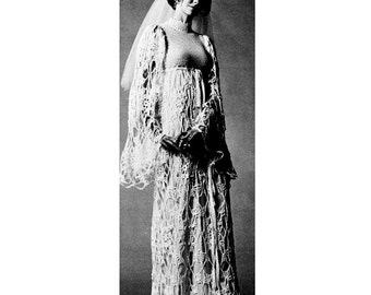 INSTANT DOWNLOAD PDF Vintage Crochet Pattern   Lacy Wedding or Maxi Evening Dress  1970s Retro