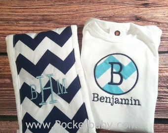 Personalized Baby Gift Set of 2 - Includes  Bodysuit and Personalized Burp Cloth - You Choose Your Fabrics - Baby Shower Gift