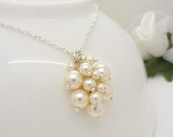 Ivory pearl cluster necklace, Ivory pearl necklace, Sterling silver, Ivory pearl wedding jewelry, Bridal necklace