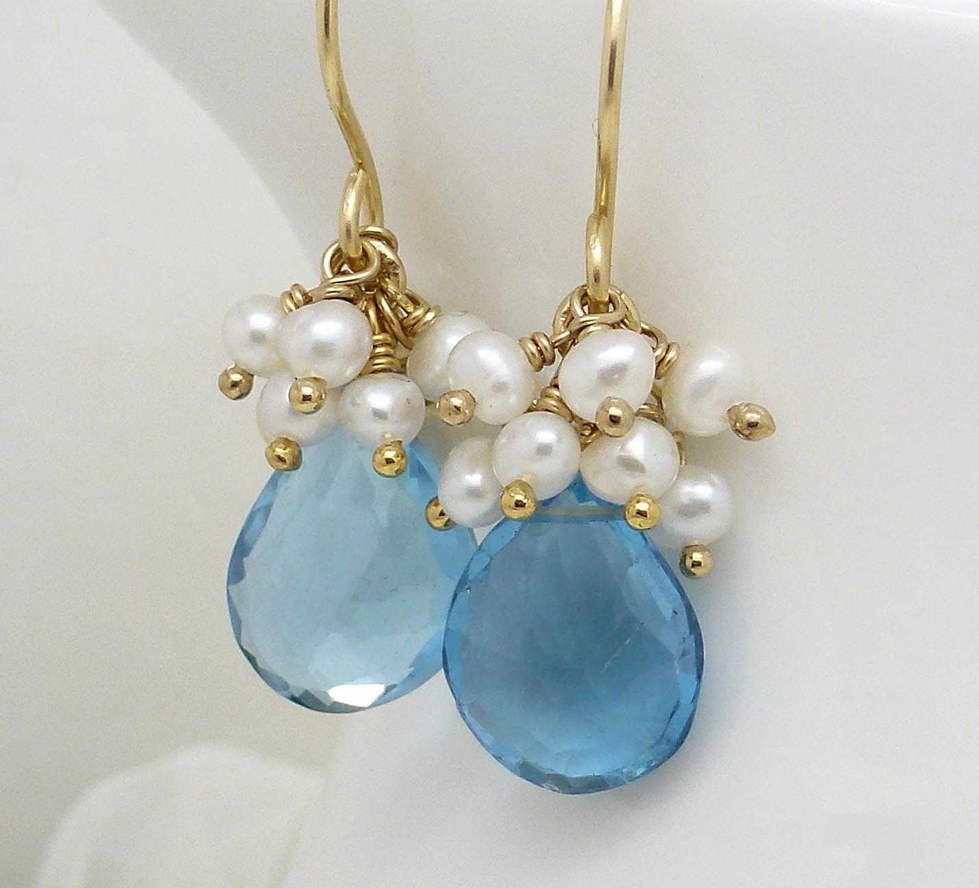 london blue topaz earrings gold blue topaz by. Black Bedroom Furniture Sets. Home Design Ideas