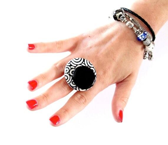 Cocktail Ring Ceramic - big bold oversize handmade -  SOCIAL CIRCLE  - 1.5 inch