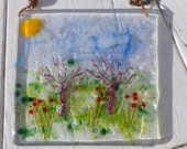Spring garden  Fused glass suncatcher or wall hanging decoration
