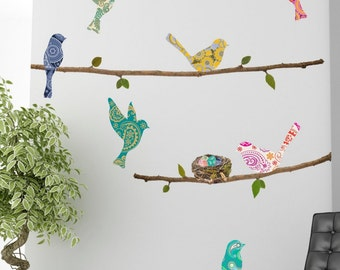 Paisley Birds & Branches Wall Decals