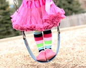 Pink Fuchsia Blue Green Striped Baby Leg Warmers