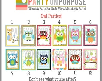 Owl Birthday Banner and Cupcake Toppers Fully Assembled Decorations