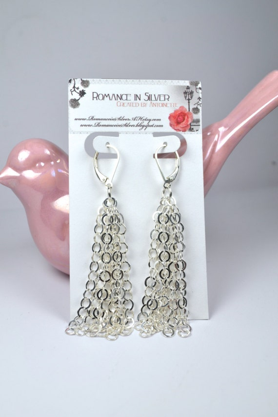 Sterling Silver Cable Chain Earrings-Reduced