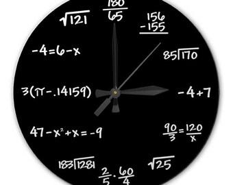 Mathematics Chalkboard Clock - High Quality, Acrylic, 10.75 inch diameter Clock - Gift for Teacher, Professor, Student, Engineer