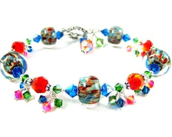 Colorful Glass Bracelet, Bright Color Jewelry, Boro Lampwork Bracelet, Orange Blue Green Bracelet, Crystal Bracelet - Glass Menagerie