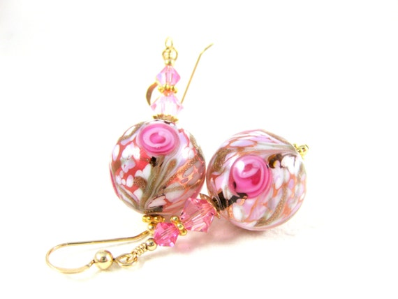 Pink Murano Earrings. Pink Gold White Glass Earrings, Venetian Murano Earrings, Beadwork Earrings, Dangle Earrings, Pink Earrings  Tea Party