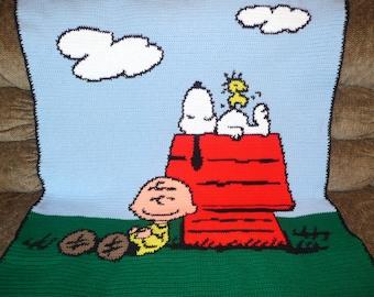Charlie Brown Snoopy and Woodstock Crochet Afghan Blanket Throw - Wonderful Afghan -