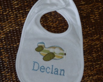 """Embroidered  Bib Personalized """"Airplane"""""""