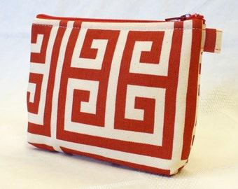 Fabric Gadget Pouch Greek Key Cosmetic Bag Zipper Pouch Makeup Bag Cotton Zip Pouch Red Natural