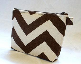 Zig Zag Chevron Fabric Gadget Pouch Cosmetic Bag Zipper Pouch Makeup Bag Cotton Zip Pouch Brown Natural MTO