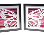 pair of butterfly wings- shadowboxes made from recycled magazines, fantasy, butterfly