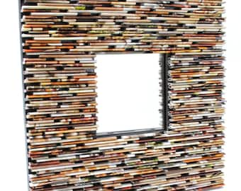 neutral colored square mirror - made with recycled magazines, brown, tan, red, green, neutral, khaki, warm colors