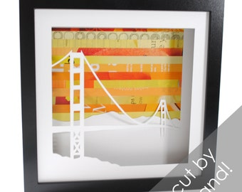 Golden Gate Bridge shadowbox- made from recycled magazines, San Francisco, California, bridge