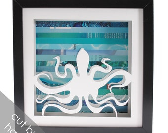 octopus- shadowbox made from recycled magazines, ocean, deep ocean, sea, coast, squid