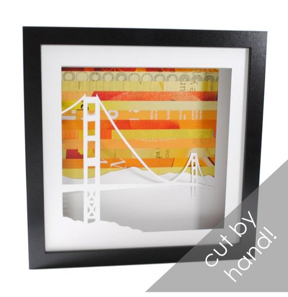 Golden Gate Bridge shadowbox- made from recycled magazines, San Francisco, California, bridge