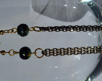 Black and Gold Beaded Chain Earrings