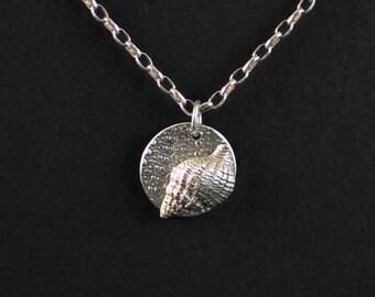 Sea Shell Necklace / Beach Jewelry / Silver Sea Shell Pendant
