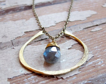 By Chance - Brass Horseshoe Necklace - Labradorite Necklace - Artisan Tangleweeds Jewelry