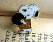 Vintage Bowling Snoopy Lapel Pin - 1970s 1980s - Bowler Peanuts Gang Dog Pin Gold Toned Metal Bird