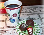 SALE Fake Cup of Black Coffee in a To Go Cup With Cake Balls & a Strawberry Fun Prop Gag