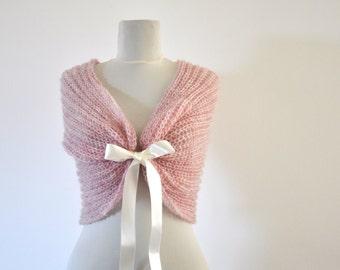 Bridal Cape Wedding Wrap Bridal Shrug Pink Rose Blush Mohair with Ribbon