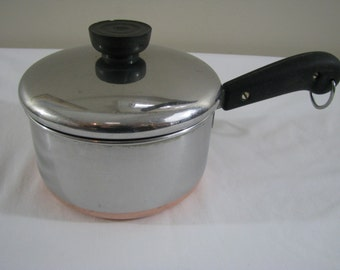 Vintage Revere Ware Copper Clad Stainless Steel 1 Quart Sauce Pan with Lid
