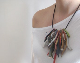 fringe tassel necklace, Colorful leather cord necklace, bohemian jewelry, statement necklace