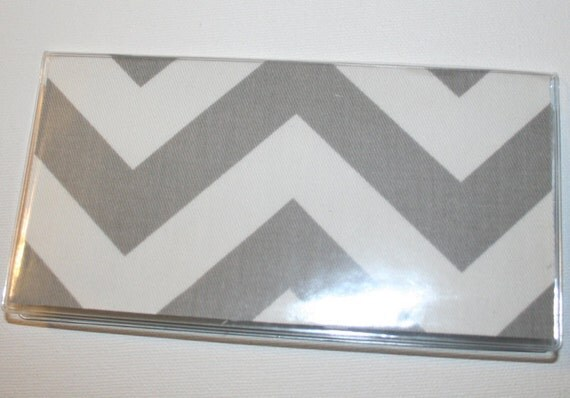 Checkbook Cover / Holder / Case  - Chevron Zig Zag - Gray Grey
