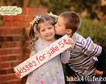 Kisses for Sale (S-038) - Distressed Wood Sign - photo PROP